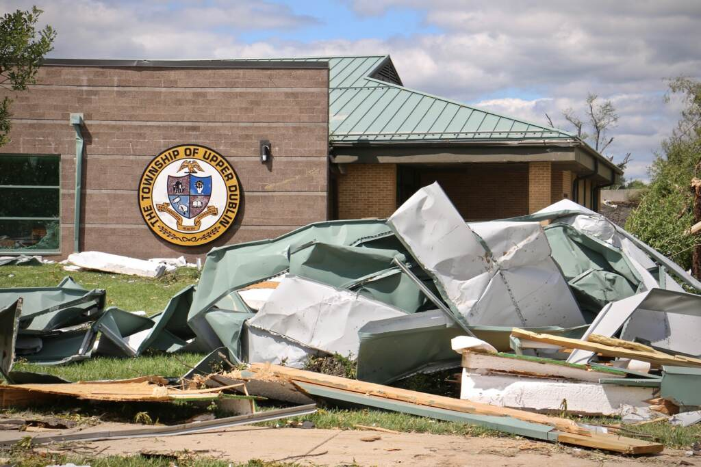 Wreckage in aftermath of Hurricane Ida at Upper Dublin High School