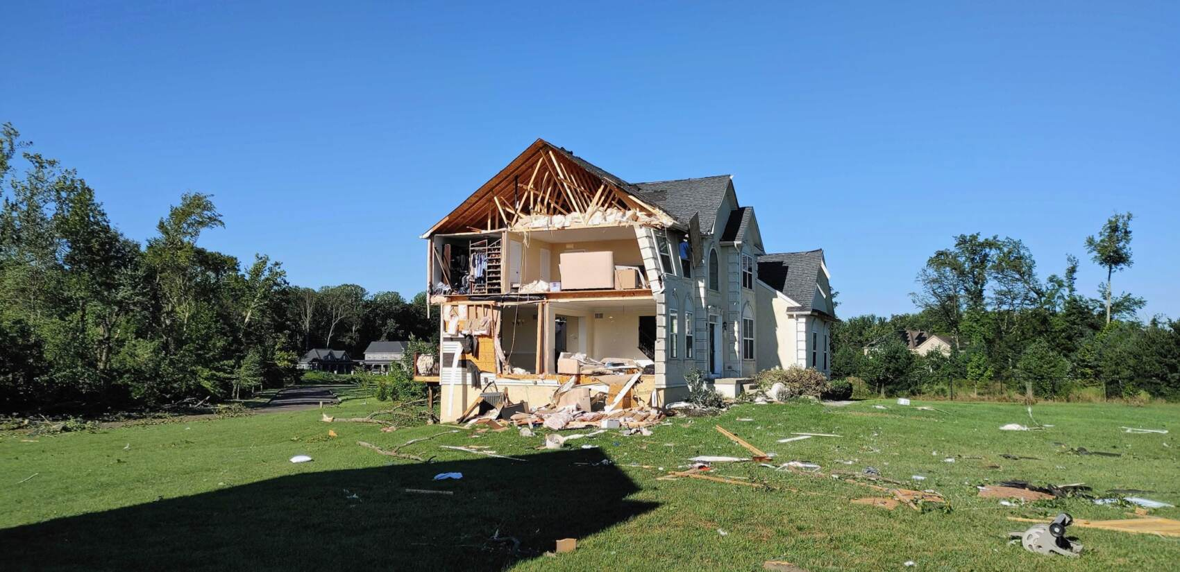 Damaged home in Mullica Hill New Jersey after tornado.