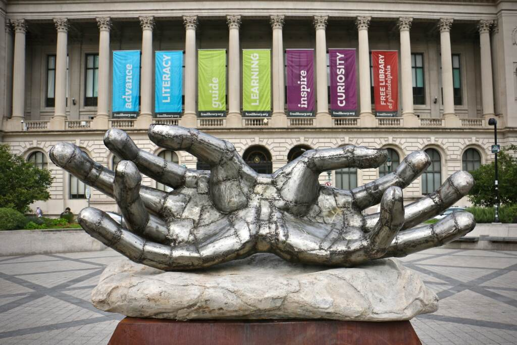 Christopher Myers's ''Caliban's Hands'' is installed at Shakespeare Park in front of the Central Branch of the Free Library of Philadelphia