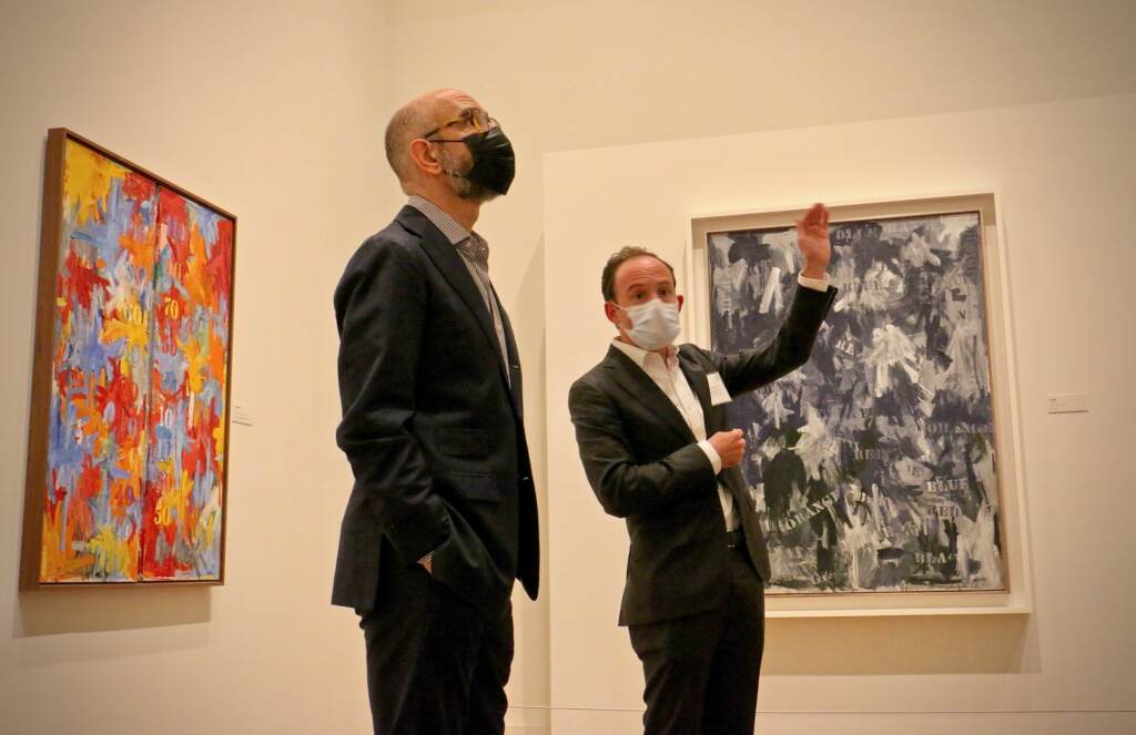 Curators Carlos Basualdo (left) of the Philadelphia Museum of Art and Scott Rothkopf of the Whitney Museum of American Art, lead a guided tour of the exhibition '' Jasper Johns: Mind / Mirror ''