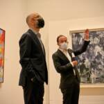 Curators Carlos Basualdo (left) of the Philadelphia Museum of Art and Scott Rothkopf of the Whitney Museum of American Art, lead a tour through the ''Jasper Johns: Mind/Mirror'' exhibit