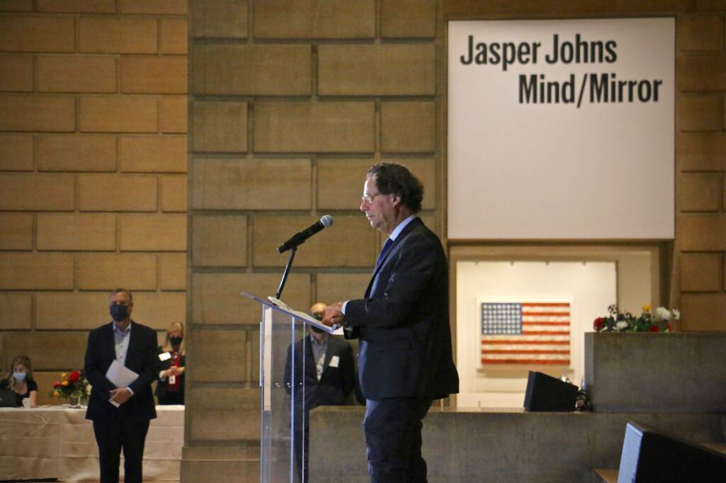 Adam D. Weinberg, director of the Whitney Museum of American Art, speaks at the opening of ''Jasper Johns:Mind/Mirror'' accompanied by Philadelphia Museum of Art Director Timothy Rub (standing at left). The two museums collaborated to present simultaneous shows featuring Johns' life and work