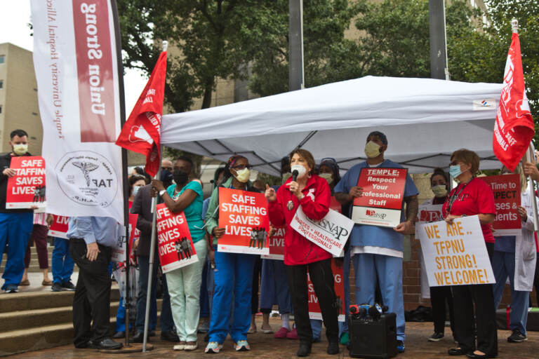Mary Adamson, an ICU nurse, and president of the Temple University Nurses Association, led a rally for more nurse staffing and in support of the Patient Safety Act on September 23, 2021. (Kimberly Paynter/WHYY)