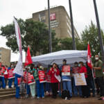 Temple University nurses protested poor working conditions and compromised patient care outside their hospital on September 23, 2021. (Kimberly Paynter/WHYY)