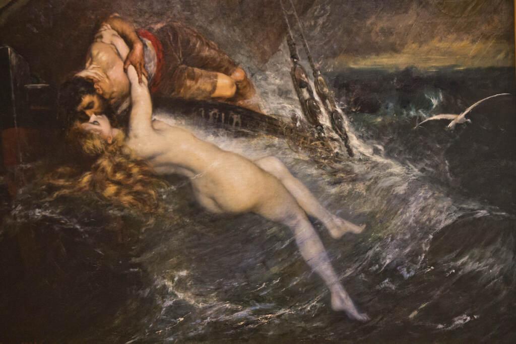 The Kiss of the Siren by Gustav Wertheimer, 1882 (insert) featured Suzanne Valadon as a siren