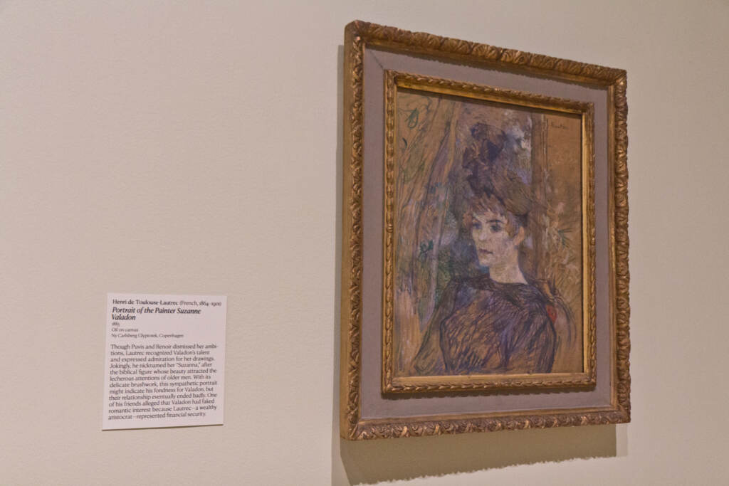 A portrait of Suzanne Valadon by Henri de Toulouse-Lautrec, 1885, on display at the Barnes Museum in Philadelphia