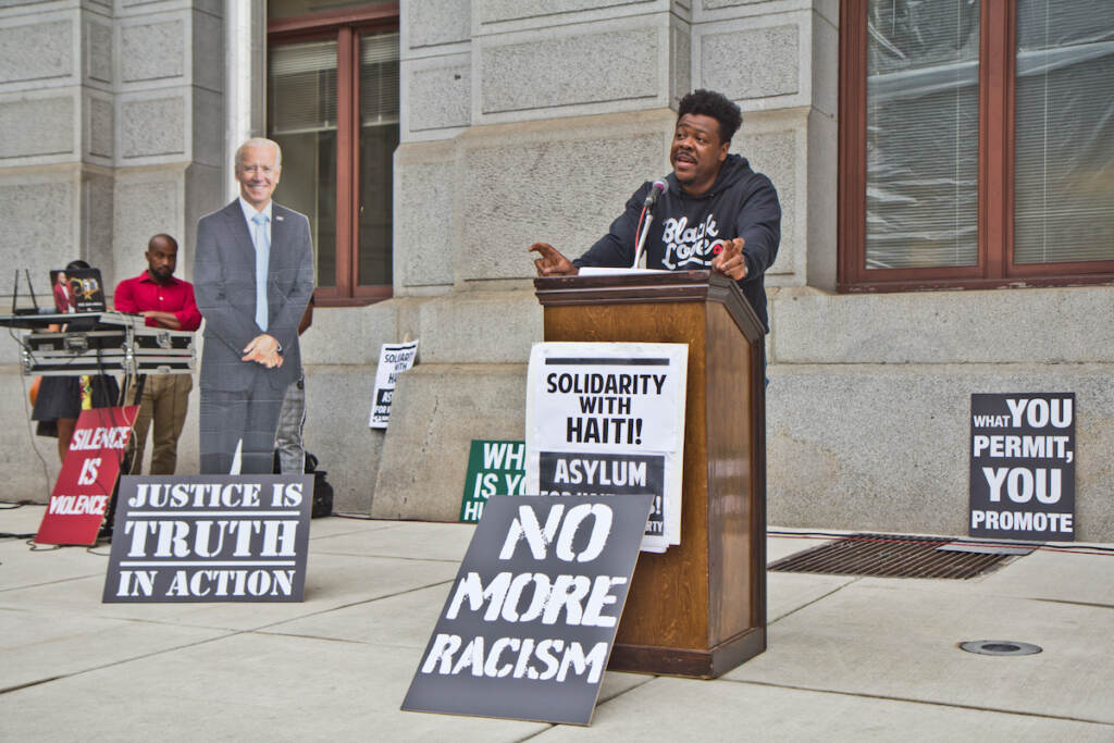 Steve Paul, the Pa. Director of State Innovation Exchange (SiX) and a Haitian immigrant who grew up in Philadelphia, led a protest against deportation of Haitian asylum-seekers, at City Hall