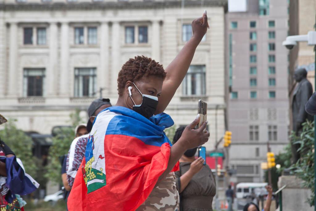 Philadelphians protested against the deportation of Haitian asylum-seekers outside City Hall