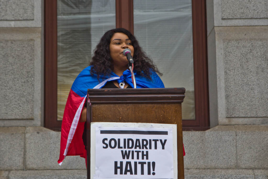Marline Idopcil hosted a protest in solidarity with Haitians at the border and against the Biden administration's deportation of Haitian asylum-seekers at City Hall in Philadelphia