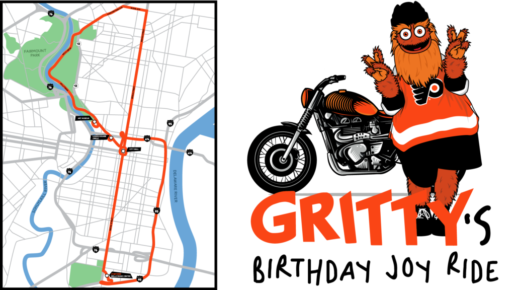 A map illustrates the expected route for Gritty's celebratory birthday ride.
