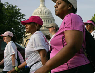 Participants in the Avon Breast Cancer Walk pass the Capitol in Washington
