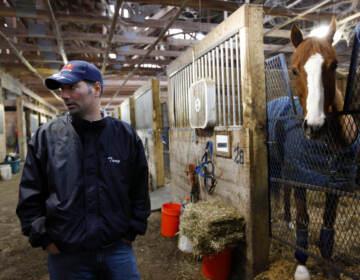 Trainer Tony Adamo makes remarks during a 2010 boycott at Penn National Race Course in Grantville, Pa. (AP Photo/Matt Rourke)