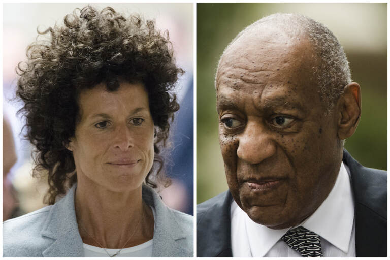 This combination of file photos shows Andrea Constand, left, walking to the courtroom during Bill Cosby's sexual assault trial June 6, 2017, at the Montgomery County Courthouse in Norristown, Pa.; and Bill Cosby, right, arriving for his sexual assault trial June 16, 2017, at the Montgomery County Courthouse in Norristown, Pa.  (AP Photo/Matt Rourke, File)
