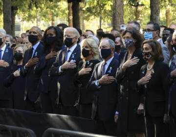 From left, former President Bill Clinton, former First Lady Hillary Clinton, former President Barack Obama, former First Lady Michelle Obama, President Joe Biden, First Lady Jill Biden, former New York City Mayor Michael Bloomberg, Bloomberg's partner Diana Taylor, Speaker of the House Nancy Pelosi (D-CA) and Senate Minority Leader Charles Schumer (D-NY) stand for the national anthem during the annual 9/11 Commemoration Ceremony at the National 9/11 Memorial and Museum on Saturday, Sept. 11, 2021 in New York