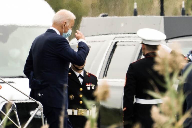 President Joe Biden disembarks Marine One upon arrival at the Gordons Pond in Rehoboth Beach, Del., Friday, Sept. 17, 2021