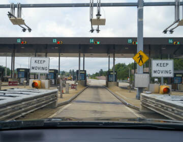 Sensors and lights are seen at the west bound toll gate of the Pennsylvania Turnpike