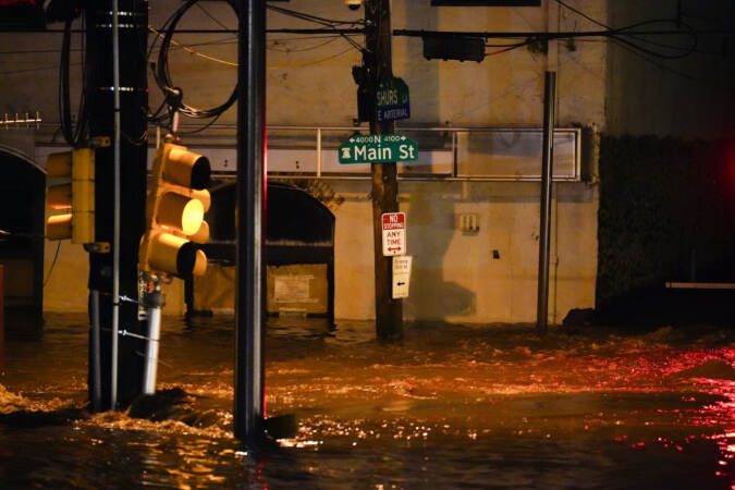 Shown is flooding in the Manayunk section of Philadelphia