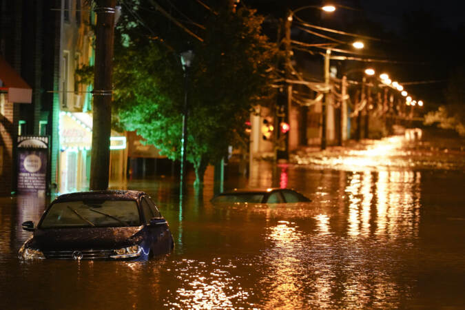 Flooding is pictured in Manayunk