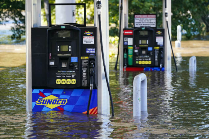 Gas pumps are submerged in water