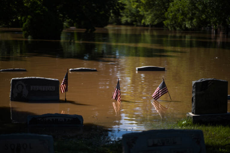 Headstones at a cemetery that flooded are seen in Somerville
