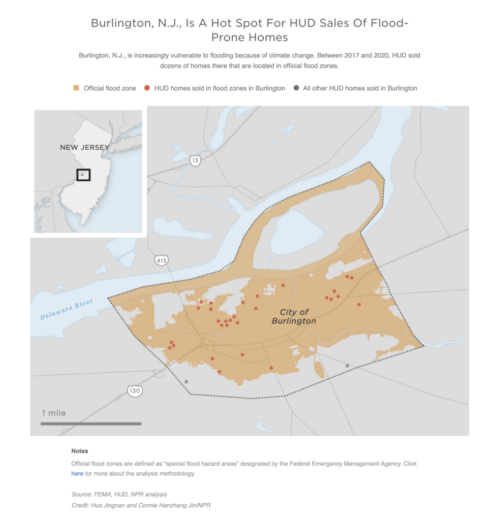 A map shows the Baton Burlington County, New Jersey, is a hot spot for HUD sales of flood-prone homes