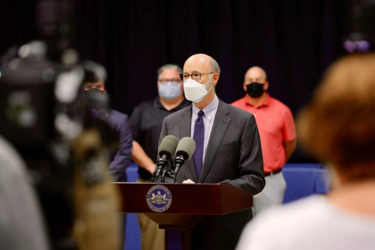 Gov. Tom Wolf speaking about the importance of mask mandates in schools, in Norristown, Pa. on September 8, 2021. (Office of Gov. Wolf)