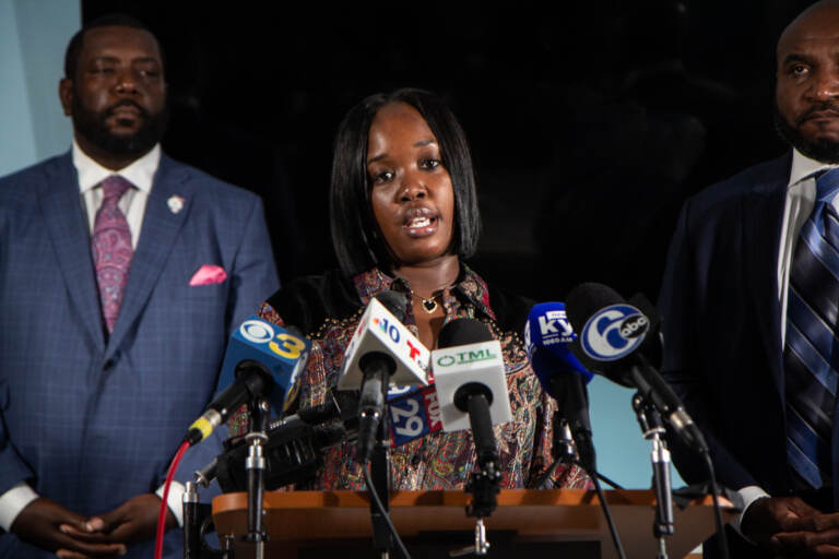 Rickia Young talked about the emotional damages at a press conference announcing the pre-settlement at the Mincey Fitzpatrick Ross law firm on September 14, 2021. (Kimberly Paynter/WHYY)