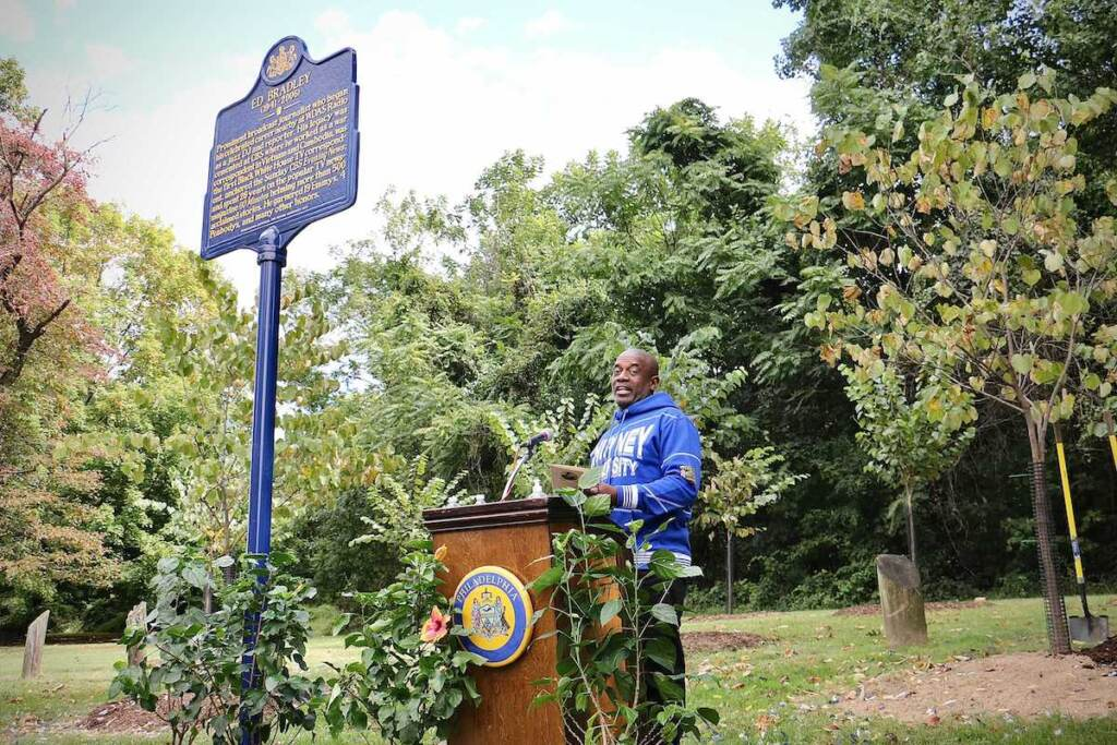 LeRoy McCarthy, who launched the effort to bring a historical marker honoring Ed Bradley to Fairmount Park, speaks during the unveiling at Belmont and Edgely avenues