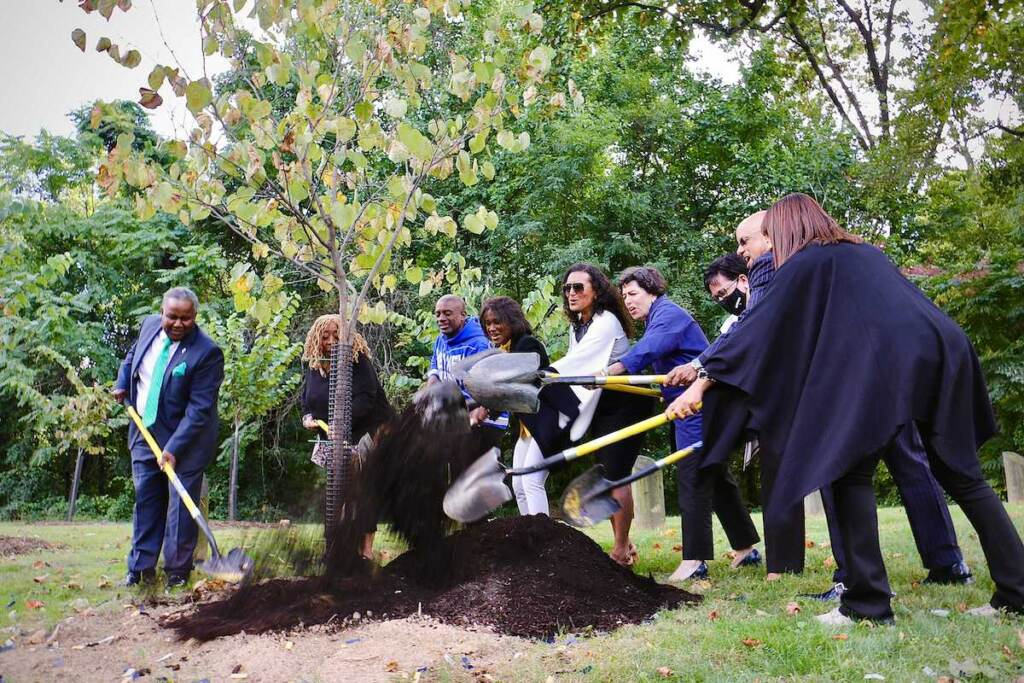 In addition to a historical marker, celebrated broadcaster Ed Bradley was honored with a grove of flowering trees planted at the southeast corner of Belmont and Edgely avenues