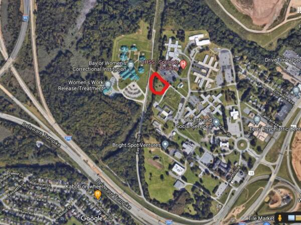 The Spiral Cemetery on the grounds of the Delaware Psychiatric Center on U.S. 13 is within the area bounded by the red marker. (Cris Barrish/WHYY)