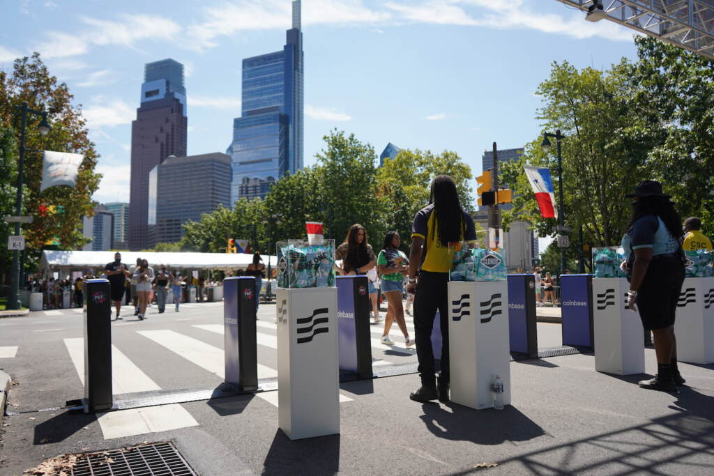Made in America festival offers Clorox wipes as people pass security
