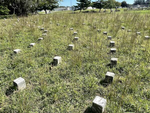 The graves are in a pattern of concentric circles. (Cris Barrish/WHYY)
