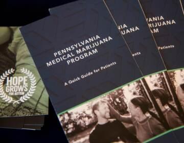 A pile of pamphlets for Pennsylvania's medical marijuana program
