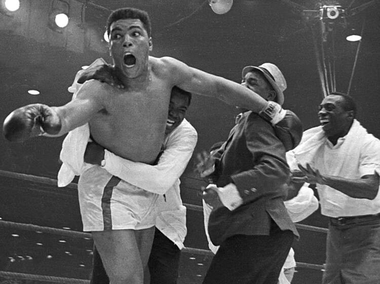 Cassius Clay's handlers hold him back after he is announced the new heavyweight champion of the world after knocking out Sonny Liston