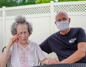 Pat Loughney (right) cared for his wife, Candy, in their home until she went into anaphylactic shock after eating medicated soap. Candy is one of 280,000 Pennsylvanians over the age of 64 living with Alzheimer's disease, the most common cause of dementia. (Quinn Glabicki for Spotlight PA / Publicsource)