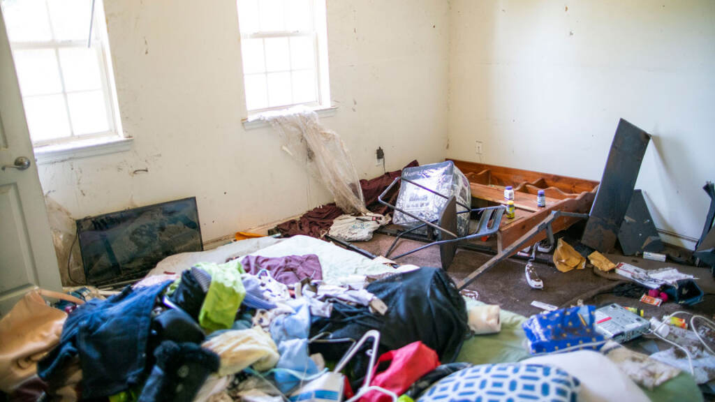 Damaged home from flooding.