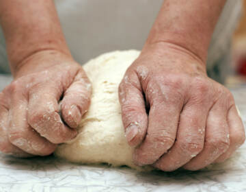 Save Download Preview Hands of woman baker kneading dough on table