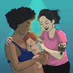 An illustration of a couple holding a baby.