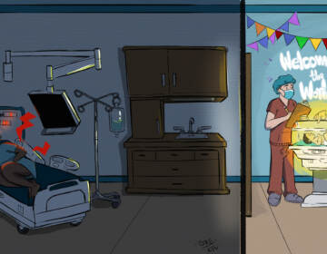 An illustration shows a patient of color writhing in pain on a hospital bed to the left, while doctors tend dotingly to a newborn on the right