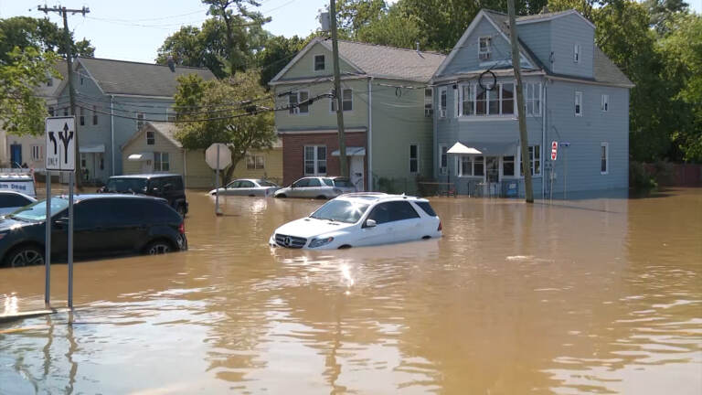 Cars are pictured sitting in Ida's floodwaters
