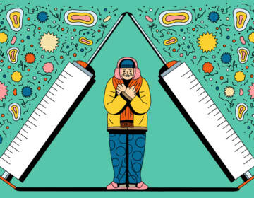 An illustration of a person standing beneath two syringes, filled with different remedies