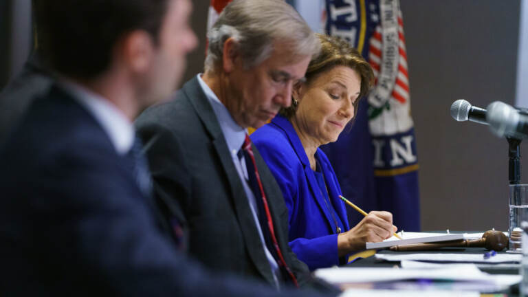 U.S. Sen. Amy Klobuchar (D-MN) takes notes during a U.S. Senate Rules Committee Georgia Field Hearing