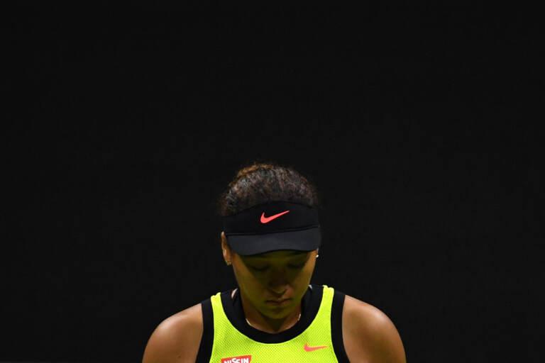 Naomi Osaka reacts during her 2021 U.S. Open women's singles third round match against Leylah Fernandez