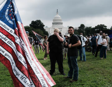 Supporters of those charged in the January 6 attack on the U.S. Capitol attend the 'Justice for J6' rally near the U.S. Capitol September 18, 2021 in Washington, DC