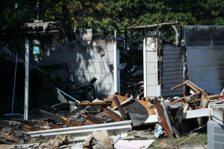 A storm-damaged home