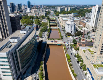 I-676 is filled with floodwater in the wake of Hurricane Ida. (Mark Henninger/Imagic Digital)