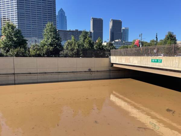 I-676 is submerged in floodwater