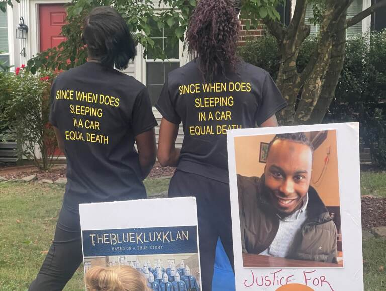 Protesters have been outside prosecutor Mark Denney's house three times in recent weeks. (Courtesy of Keandra Ray)