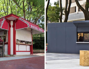 The Temple Bagel Hut before and after.