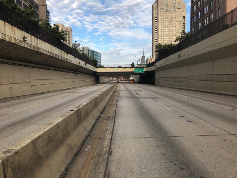 A cleared out Vine Street Expressway